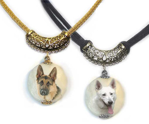 German Shepherd Photo Pendant necklace on Marble stone. Pick silver or gold trim.