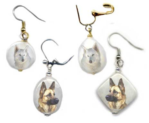 German Shepherd earrings with photos on snow quartz. Silver or gold, Pierced or clip on.