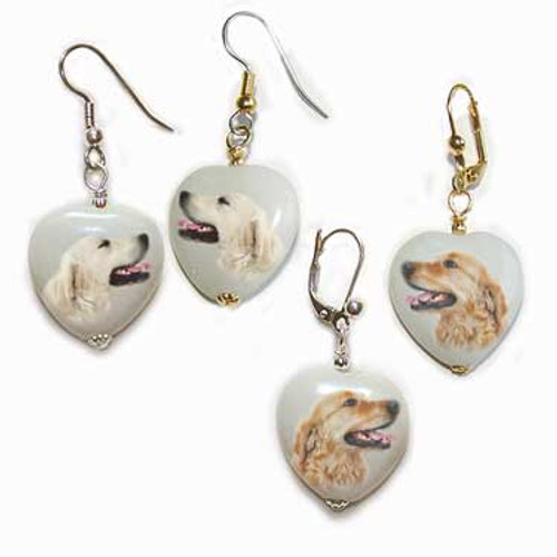 Golden Retriever and Blonde Golden Retriever gemstone heart earrings - Gold or Silver - Pierced or clip-on