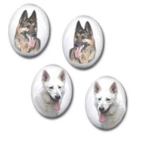 German Shepherd gemstone stud earrings - Pierced or clip-on