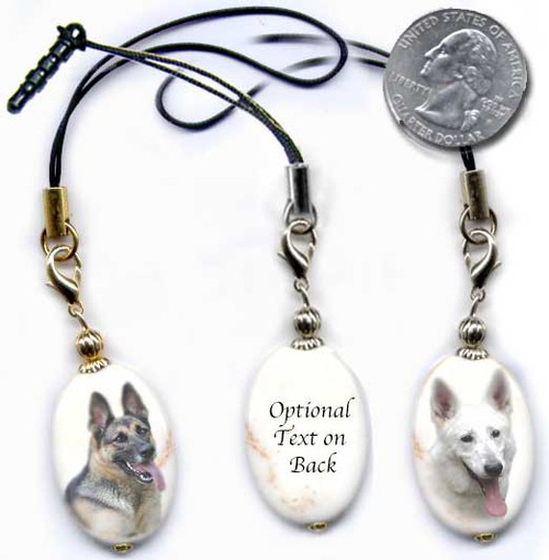 German Shepherd photo lanyard or cell phone dust plug on magnesite gemstone. Silver and gold colors.