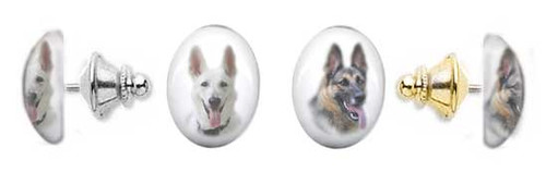 German Shepherd photo tie tac pin with gemstone cabochon. Silver and gold clutch.