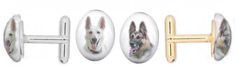 German Shepherd photo Cuff Links with gemstone cabochon. Silver and gold backing.