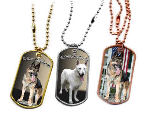 Traditional G.I. type metal dog tag with your favorite German Shepherd  photo. Choose Stainless, brass or copper.