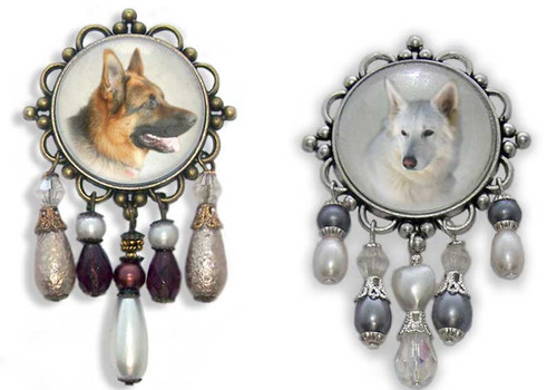 German Shepherd 3-D brooch pin with crystals and gemstones. Choose brown or white German Shepherd photo.
