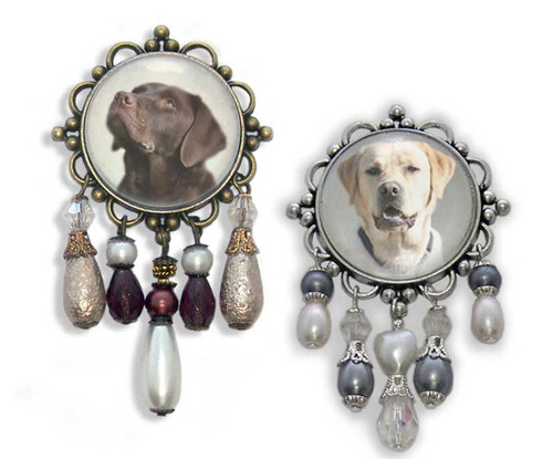 Labrador Retriever 3-D brooch pin with crystals and gemstones. Yellow or Chocolate Labrador Retriever  photo.
