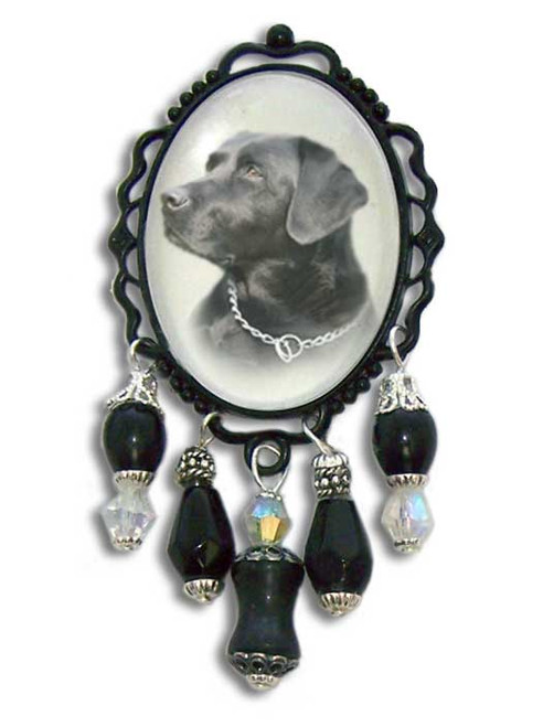Black Labrador Retriever 3-D brooch pin with crystals and gemstones. Black Labrador Retriever  photo.