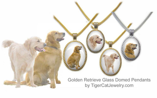 $25.99 Golden Retriever Dog pendant necklace features a photo of a traditional Golden Retriever or a Blonde Golden Retriever under glass cabochon. 3 sizes, 2 colors. #GoldenRetrieverDog#GoldenRetrieverJewelry#GoldenRetrieverNecklace#GoldenRetrieverPendant#GoldenRetrieverpendantnecklace