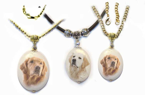 Blonde and  Golden Retriever  Photo Pendant - dolomite stone  silver or gold trim on rope or chain. Three sizes available.  Optional text available on back. For women or men.