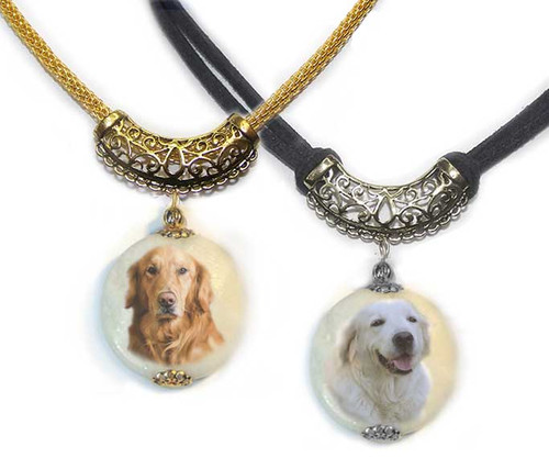 Golden and Blonde Retriever Photo Pendant necklace on Marble stone. Pick silver or gold trim with ornate Bali bail.