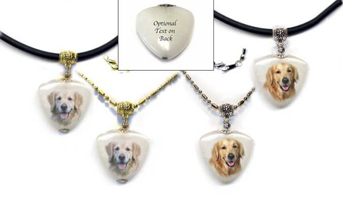 Golden Retriever Photo Pendant necklace on quartz stone. Pick silver or gold trim, rope or chain. For women and men.