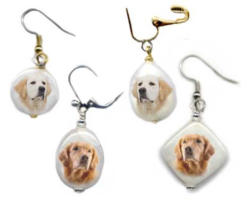 Blonde  and Golden Retriever earrings with photos on snow quartz. Silver or gold, Pierced or clip on.