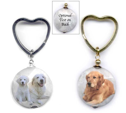 Golden Retriever and Blonde Retriever photo key ring with heart ring on faceted marble gemstone. Silver and gold colors.