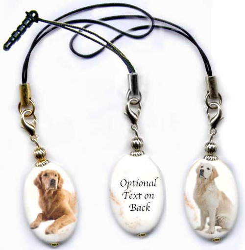 Golden Retriever and Blonde Retriever photo lanyard or cell phone dust plug on magnesite gemstone. Silver and gold colors.