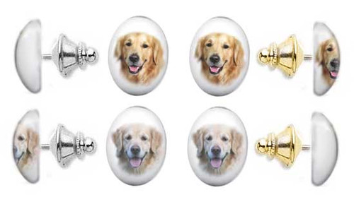 Golden Retriever and Blonde Retriever photo tie tac pin with gemstone cabochon. Silver and gold clutch.
