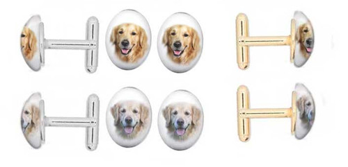 Golden Retriever and Blonde Retriever photo Cuff Links with gemstone cabochon. Silver and gold backing.