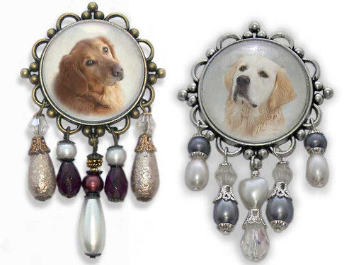 Golden Retriever or Blonde Retriever 3-D brooch pin with crystals and gemstones. Choose Golden or Blonde Retriever photo. Old World antiqued bronze or silver frame.
