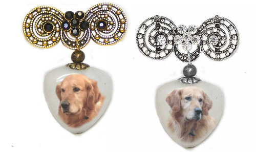 Golden Retriever and Blonde Retriever Photo Pin on quartz stone. Pick silver or  Gold rhinestone trim.