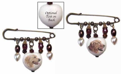 Golden Retriever and Blonde Retriever Gemstone Kilt Pinwith crystals and pearls - bronze