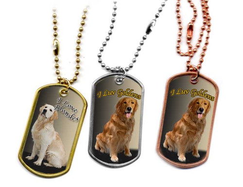 Traditional G.I. type metal dog tag with a Golden Retriever or Blonde Retriever  photo. Choose Stainless, brass or copper.