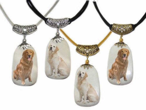 Golden Retriever and Blonde Retriever photos on a  Dog Tag shaped Snow Quartz  gemstone. Silver and gold colored trim with chain or rope.