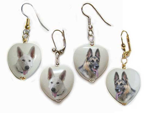 Traditional Brown and White German Shepherd gemstone heart earrings - Gold or Silver - Pierced or clip-on