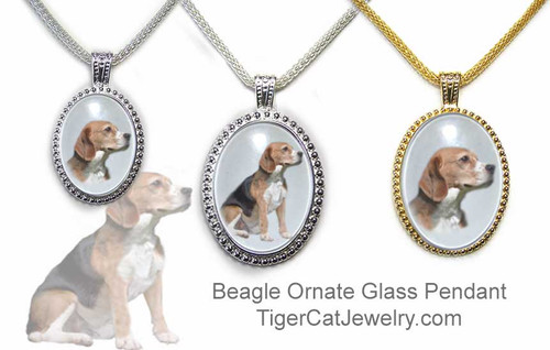 $25.99 Glass ornate Beagle dog pendant necklace features a photo of a tricolored Beagle under a glass domed cabochon with steel mesh chain. Three sizes, two metal colors.#BeagleDog#BeagleJewelry#BeagleNecklace#BeaglePendant#Beagledogpendantnecklace#glassdogjewelry