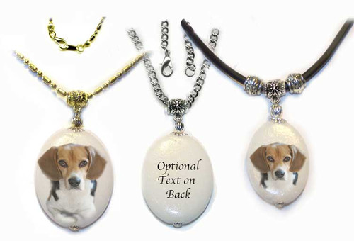 Beagle Photo Pendant - dolomite stone  silver or gold trim on rope or chain. Three sizes available.  Optional text available on back. For women or men.