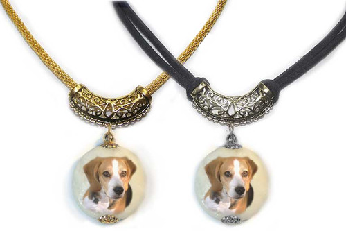 Beagle Dog Photo Pendant necklace on Marble stone. Pick silver or gold trim with ornate Bali bail.