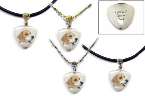 Beagle Dog Photo Pendant necklace on quartz stone. Pick silver or gold trim, rope or chain. For women and men.