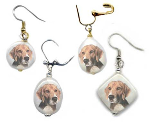 Beagle Dog earrings with photos on snow quartz. Silver or gold, Pierced or clip on.