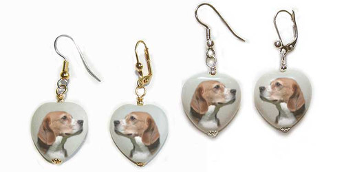 Beagle Dog gemstone heart earrings - Gold or Silver - Pierced or clip-on