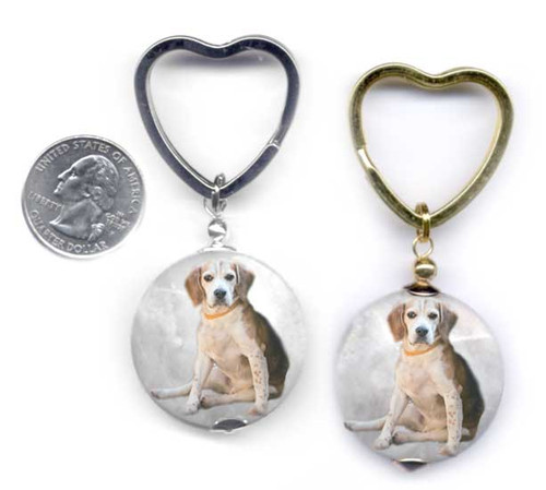 Beagle Dog photo key ring with heart ring on faceted marble gemstone. Silver and gold colors.