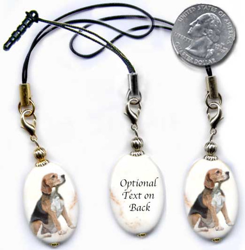 Beagle Dog photo lanyard or cell phone dust plug on magnesite gemstone. Silver and gold colors.