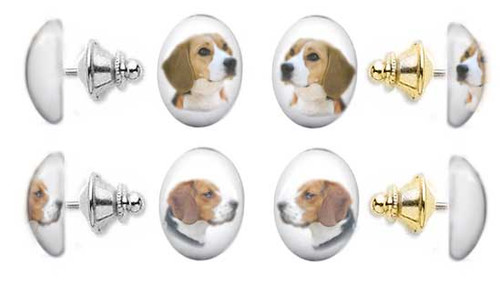 Beagle Dog photo tie tac pin with gemstone cabochon. Silver and gold clutch.