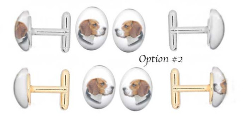 Beagle Dog photo Cuff Links with gemstone cabochon. Silver and gold backing.