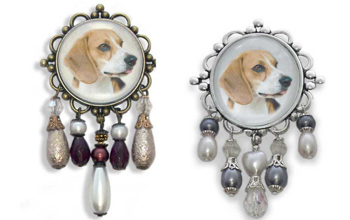 Beagle Dog 3-D brooch pin with crystals and gemstones. Old World Style. Choose antiqued bronze or silver frame.