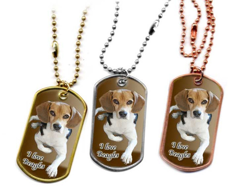 "Traditional G.I. type metal dog tag with a Beagle Dog  photo. Like a mini poster that reads ""I love Beagles"".Choose Stainless, brass or copper tag with 24"" ball chain."