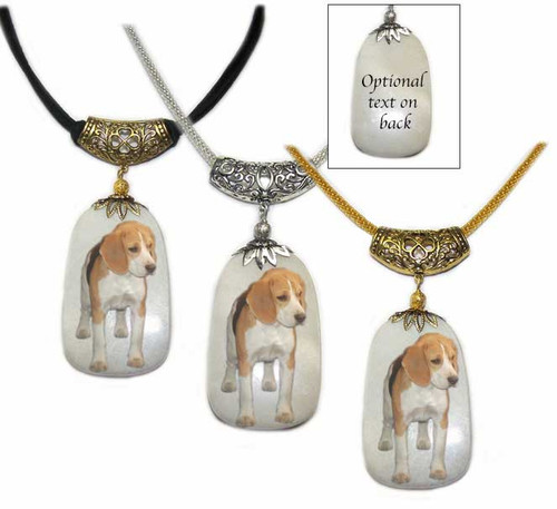 Beagle dog photo on a  Dog Tag shaped Snow Quartz  gemstone pendant. Necklace comes in Silver and gold colored trim with chain or rope.