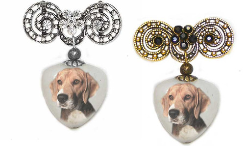 Beagle Dog Photo Pin on quartz stone. Pick silver or Gold rhinestone trim.
