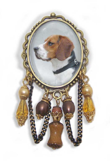 21.99 Beagle dog photo  featured under glass domed cabochon of old world brass frame brooch pin. Crystals, gemstones and bead accent the colors in the dogs fur.#BeagleDog#BeagleJewelry#BeaglePin#BeagleBrooch#BeagledogBroochPin