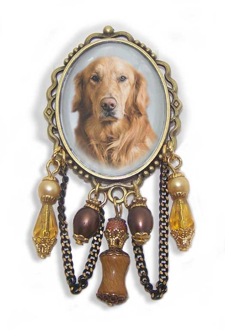Golden Retriever Dog unusual 3-D brooch pin with crystals and gemstones. Old World antiqued bronze frame.