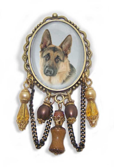 German Shepherd Dog unusual 3-D brooch pin with crystals and gemstones. Old World antiqued bronze frame.
