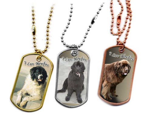 Traditional G.I. type metal dog tag with your favorite Newfoundland dog photo. Choose Stainless, brass or copper. Black Newfie, Chocolate Newfie or Landseer Newfie. Newfoundland dog jewelry