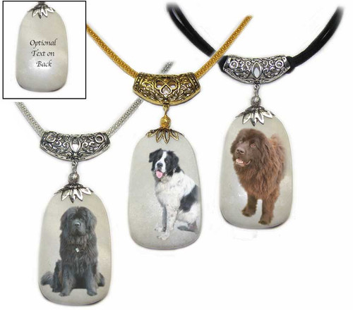 Newfoundland dog photos on a  Dog Tag shaped Snow Quartz  gemstone.Silver and gold colored trim with chain or rope. Choose Black, Chocolate Brown or Landseeer Newfie. Newfoundland dog jewelry