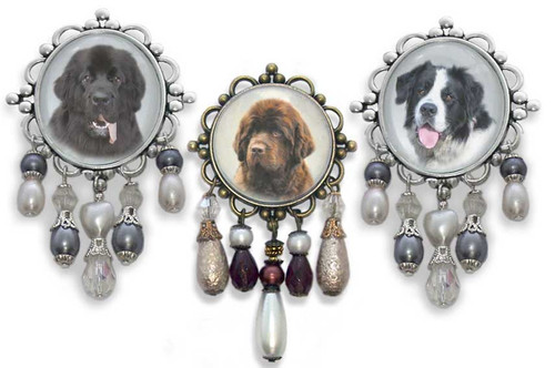 Newfoundland Dog 3-D brooch pin with crystals and gemstones. Black, Chocolate Brown or Landseer Newfie  photo. Newfoundland dog jewelry