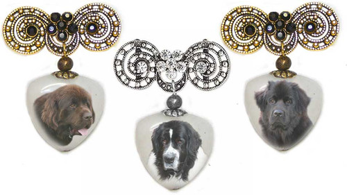 Black, Chocolate Brown or Landseer Newfie  Photo Pin on quartz stone. Pick silver or  Gold rhinestone trim. Newfoundland dog jewelry