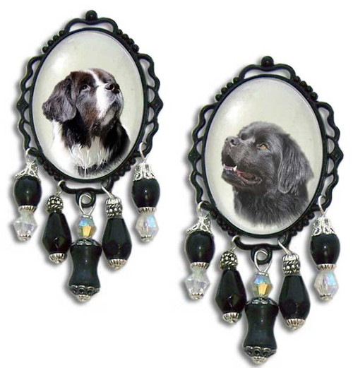 Newfoundland Dog 3-D brooch pin with crystals and gemstones.  Black or Landseer Newfie  photo.