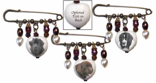 Newfoundland Dog Gemstone Kilt Pin - bronze with crystals and pearls.  Choose Black, Chocolate Brown or Landseer Newfie  dog photo. Optional text available on back.
