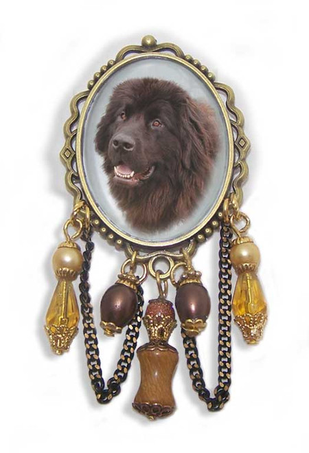 Newfoundland Dog unusual 3-D brooch pin with crystals and gemstones. Old World antiqued bronze frame.